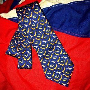 Bird Dog Bay Fox Hunt Hand Made Silk tie horns